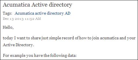 Zaletskyy's blog: Acumatica Active Directory Integration