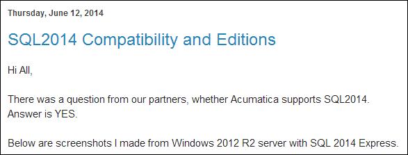 Sergey Blog: Acumatica and Microsoft SQL Server 2014