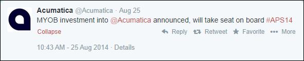 MYOB Invests in Acumatica