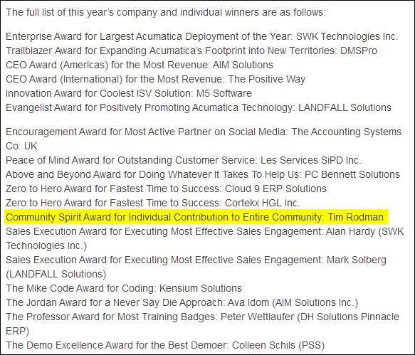Acumatica Partner Summit 2014 Partner Awards