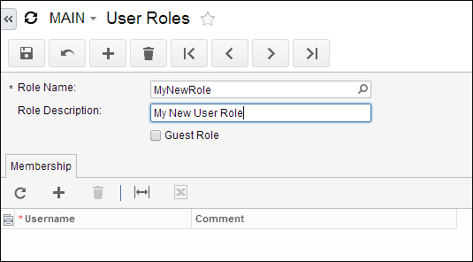 Create a new Acumatica User Role
