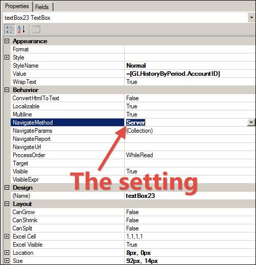 Acumatica Report Designer NavigateMethod Setting (Client or Server)