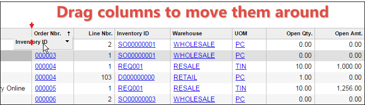 Acumatica Report Store: Sales Order Lines Generic Inquiry