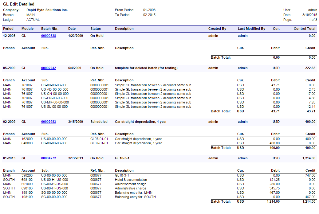 Acumatica Report Review: GL Edit Detailed