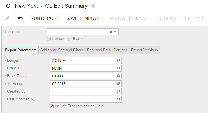 Acumatica Report Review: GL Edit Summary