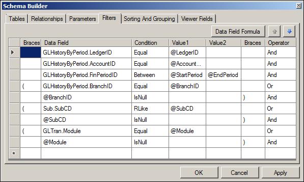 Acumatica Transactions for Account Report Schema Builder