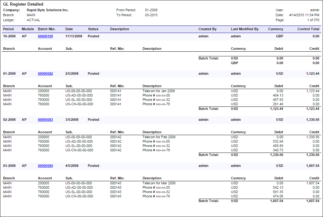 Acumatica Standard Reports: GL Register Detailed