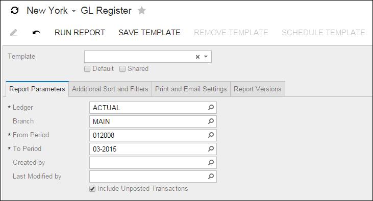 Acumatica Report Review: GL Register