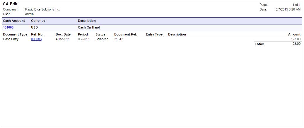 Acumatica Standard Reports: CA Edit