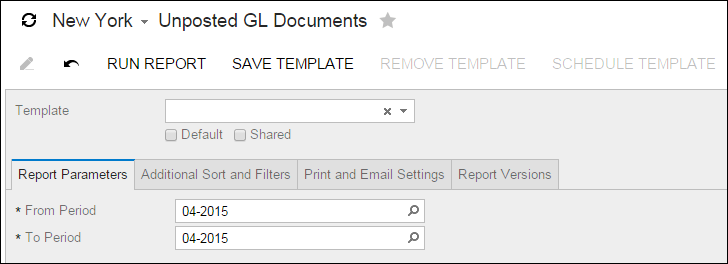 Acumatica Standard Reports: Open GL Documents