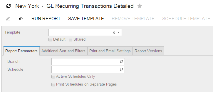 Acumatica Standard Reports: GL Recurring Transactions Detailed