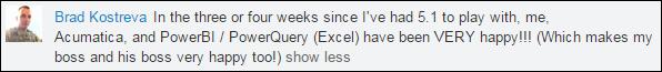 Brad Kostreva comment on LinkedIn