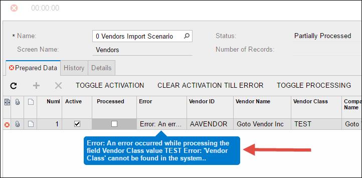 Sample Acumatica Import Scenario (Vendors)