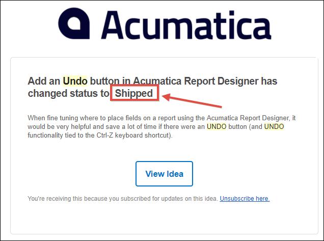 Acumatica Report Designer Undo Functionality
