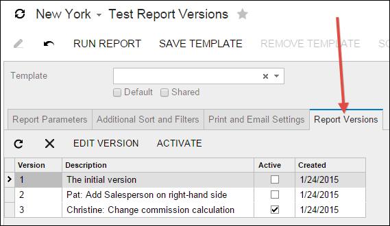 Acumatica Report Designer - Report Versions Tab