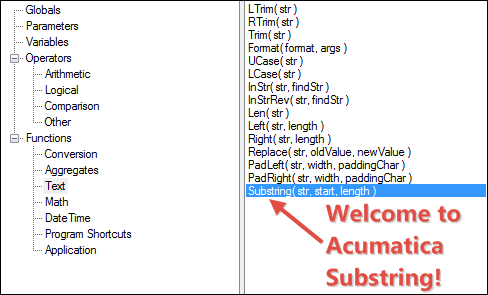Acumatica Substring Function