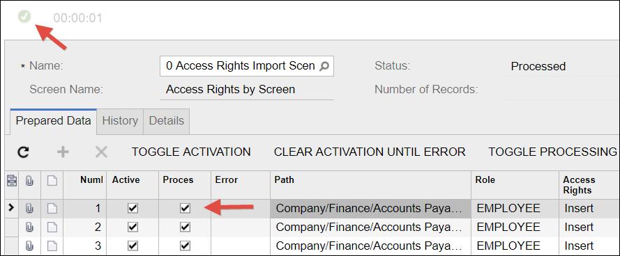 Sample Acumatica Import Scenario (Access Rights)