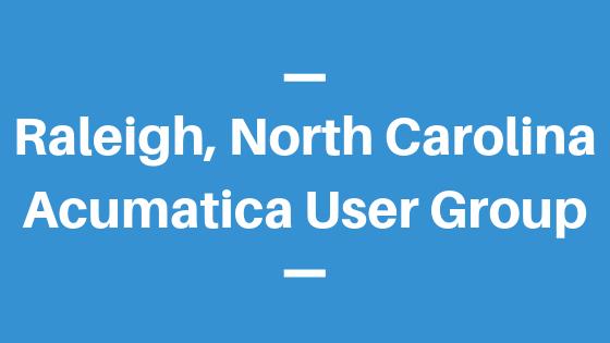 Acumatica User Group in Raleigh, North Carolina