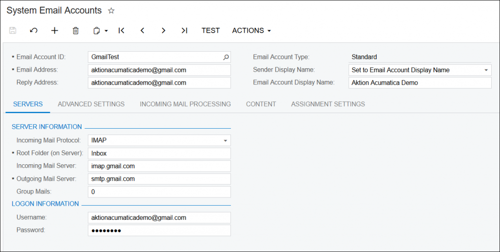 Using Gmail With Acumatica