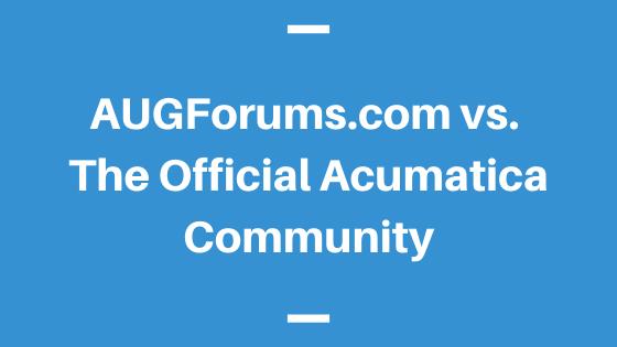 AUGForums.com vs. The Official Acumatica Community
