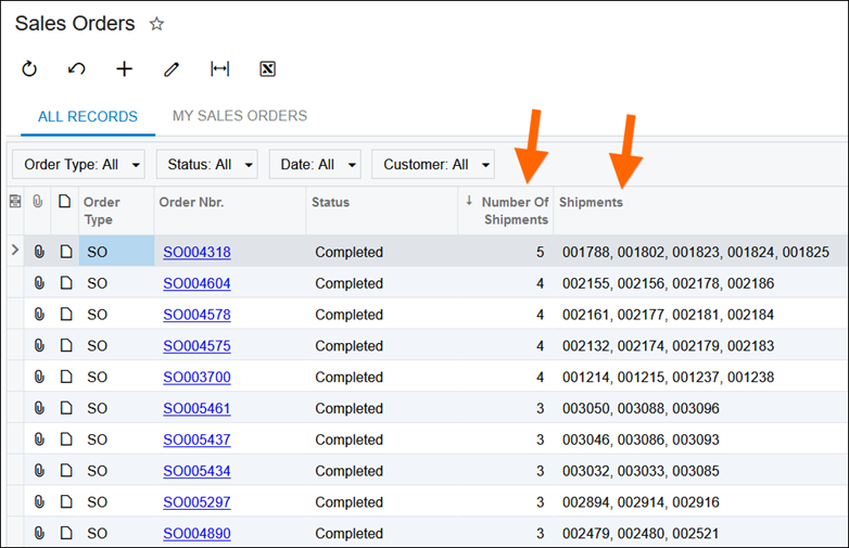 Acumatica Comma-Separated List of Shipments for a Sales Order using a Generic Inquiry and SQL View