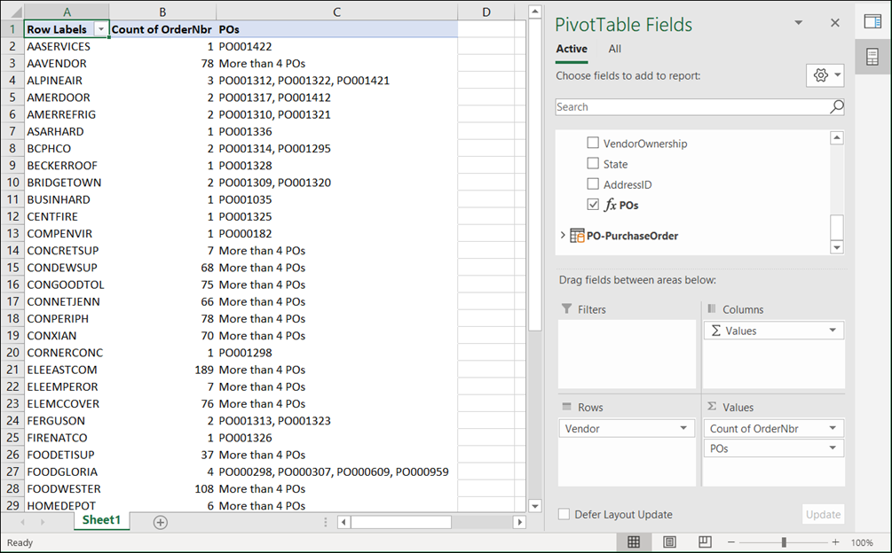 Acumatica Comma-Separated List of Purchase Orders for a Vendor using Microsoft Excel