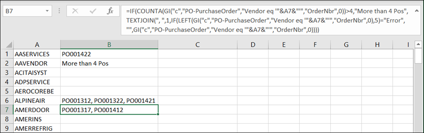 Acumatica Comma-Separated List of Purchase Orders for a Vendor using Velixo Reports